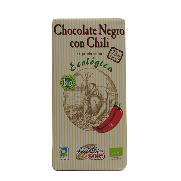 Foto de CHOCOLATE NEGRO 73% CACAO CON CHILI BIO 100 GR SOLE