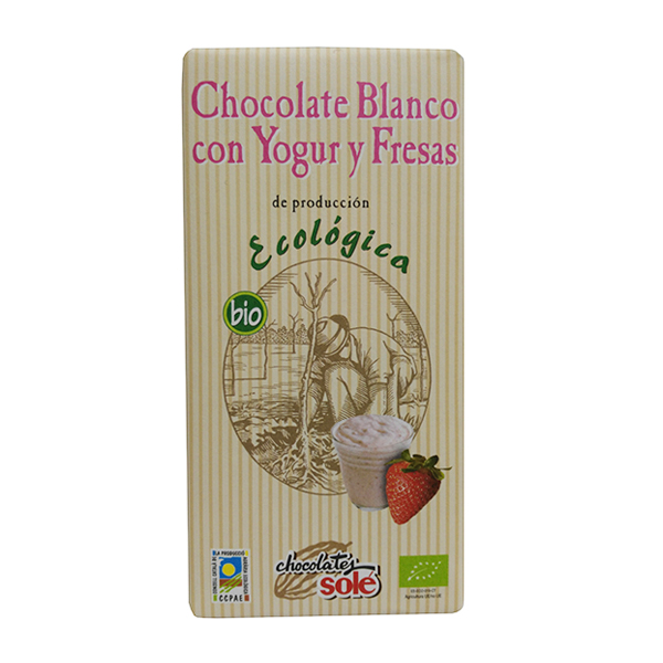 Foto de CHOCOLATE BLANCO CON YOGUR Y FRESAS ECO 100 GR  SOLE